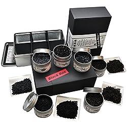 direct&friendly Bio Blackbox Geschenkset, Black Foods und Superfoods mit Beluga Linsen, Schwarzkümmel, Pyramidensalz, Pfeffer, Johannisbeeren und Earl Grey Tee