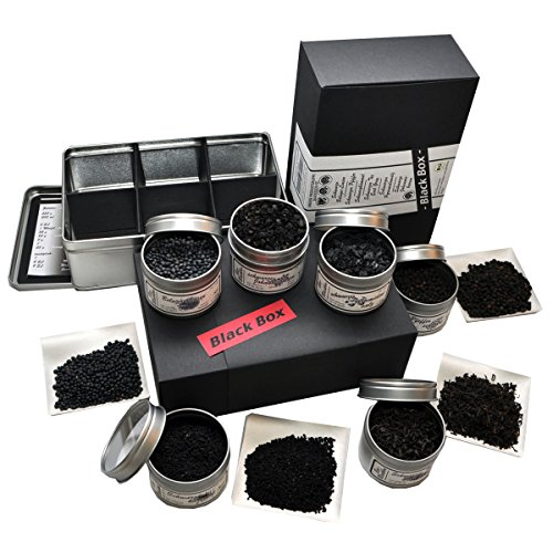Bio Blackbox Geschenkset (mit Beluga Linsen, Schwarzkümmel, Pyramidensalz, Pfeffer, Johannisbeeren und Earl Grey Tee)