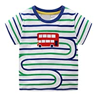 LANSKIRT-Baby Boys T-Shirt,✿Toddler Kids Short Sleeve Cartoon Pattern Striped Blouse Tops Summer Casual Cotton Pullover Comfortable Cute Clothes Tank Tops for 1-7 Years Old Green