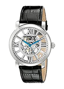 Stuhrling Original Winchester Terrace Mechanical Skeleton Men's Mechanical Watch with Silver Dial Analogue Display and Black Leather Strap 280.33152