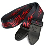 #4: Generic Adjustable Buckle Guitar Strap w/ Red Flame Print-15007099MG