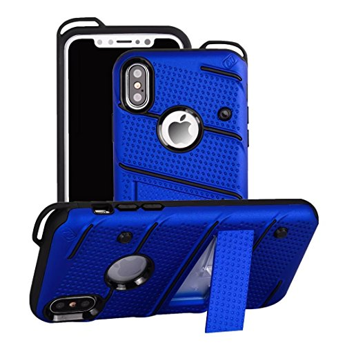 EKINHUI Case Cover Neue stilvolle Hybrid-Rüstung Schutzhülle Case Shockproof Dual Layer PC + TPU Rückseitige Abdeckung mit Kickstand für [Shock Absorbtion] für iPhone X ( Color : Rosegold ) Blue