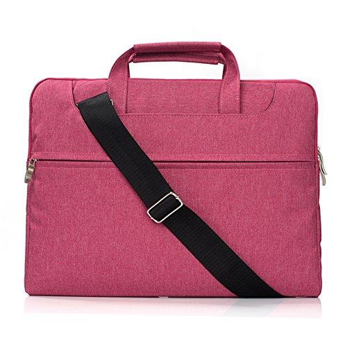TechCode 13-13,3 Zoll Laptoptasche mit Griff, Schutztasche Polyester-Gewebe-Multifunktionshülsen-Aktenkoffer-Handtaschen-Kasten-Abdeckung für 13-13.3 Zoll-Laptop, Notizbuch, MacBook Air / Pro (Heiß Rosa) (Rosa Aktenkoffer)