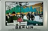 Blechschild Nostalgieschild Berlin Via Harwich Eisenbahn Schiff retro Schild