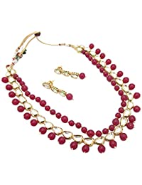 Biyu Contemporary Collection Red Copper Kundan Ruby Designer Double Line Necklace Set For Women