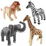 cama24com Aufblasbarer Elefant, Löwe, Giraffe und Zebra als Partydekoration für den...