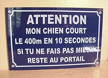 PLAQUE de RUE ATTENTION CHIEN 20 x 30 cm signalisation portail propriété privée chien méchant