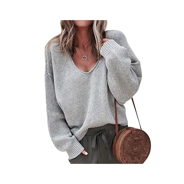 0ae34c60784d Monissy Femmes Pulls Automne et Hiver Fashion Lâche à Manches Longues Pull  Col V Pull Sexy Belles Couleurs · Pull Col V Femme Chandail Maille Tricot  Pull ...