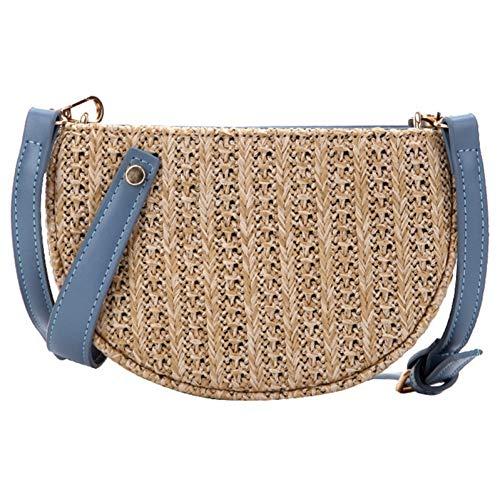 WOKJBGE Rattan Tasche Umhängetasche Lady Fransen häkeln Stroh Handtasche handgemacht gestrickt dekorative Strand Reisen gewebt Sommer blau