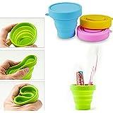 Set de viaje Copa de silicona plegable Picnic Camping tazas Mug recipiente de agua 4pcs