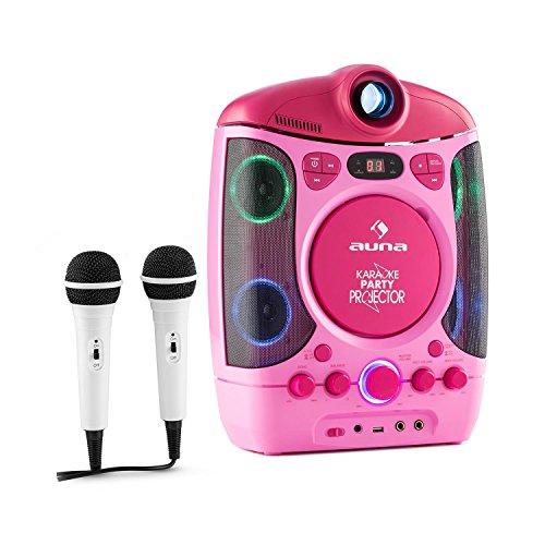 Auna Kara Projektura Karaoke 2 1 con proiettore LCD Kit Karaoke Accesso USB capacitá MP3 2 microfoni dinamici Lettore CD+G Uscita Video usicta Audio