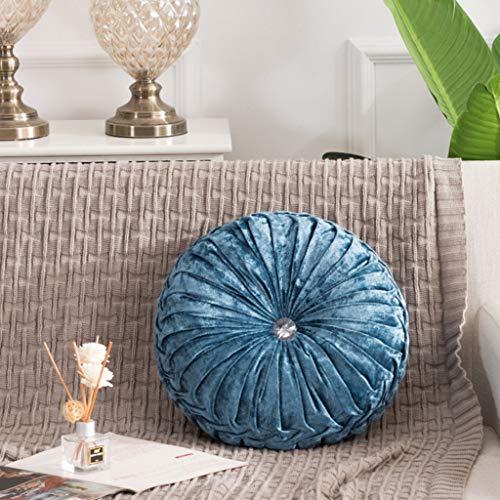 JOYKK European Style Dekokissen Luxury Velvet Cushion Plissee Stoff handgefertigt rundes Rad Kürbis Sitzkissen - 09# Königsblau (Lenkrad Abdeckung Schwarz Stoff)