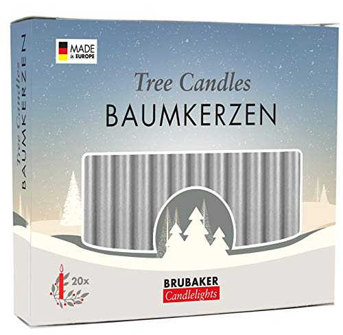 Brubaker 20er Pack Baumkerzen Wachs Weihnachtskerzen Pyramidenkerzen Christbaumkerzen Silber
