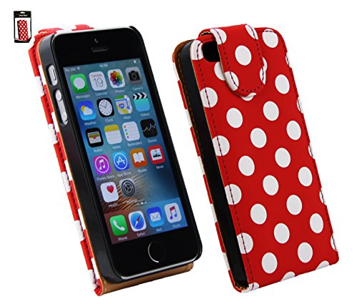 Emartbuy® Apple iPhone SE Premium PU Leder Schlag Fall Abdeckung Beutel Polka Dots Rot Weiß