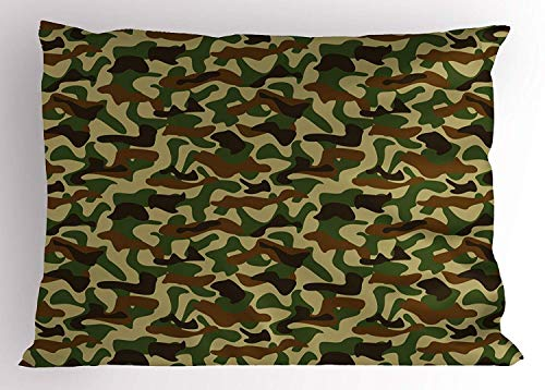 Rghkjlp Camouflage Kissen Sham, Squad Uniform Design with Vivid Color Scheme Hunting Camouflage Pattern, Decorative Standard King Size Printed Kissencase, 20 X 30 Inches, Green Brown Khaki - Camouflage Kissen Sham
