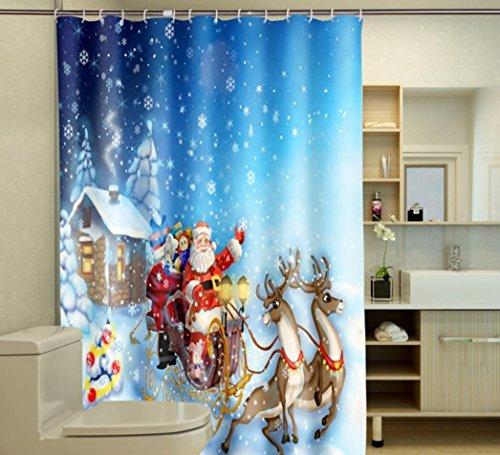 ZTYR Impermeabile antimuffa poliestere 3D digitale stampa Babbo Natale neve vista bagno doccia tenda . 200*180 - Natale Tenda Della Doccia
