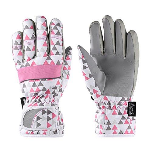Fazitrip 3M Thinsulate Handschuhe, winddichte & wasserdichte Handschuhe Damen, Funktion als Ski Handschuhe, Radfahren Handschuhe, Laufschuhe oder andere Sporthandschuhe im Winter (Pink/White, M) (Custom-fit-handschuhe)