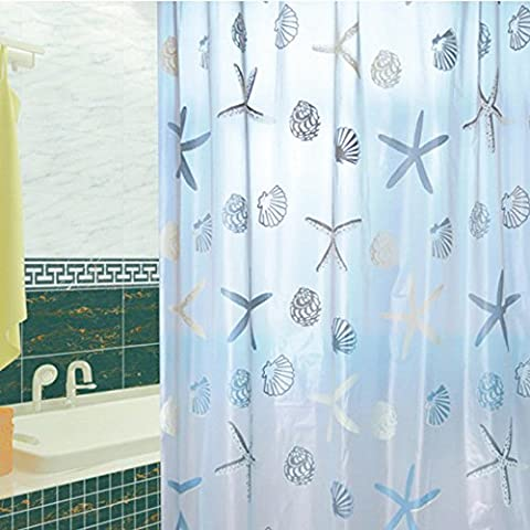 Ieasycan shower curtain, 100% polyester and 71¡¯¡¯ by 71¡¯¡¯ in dimensions, Blue water repellent and gets dry rapidly ensuring no mold or mildew emerges. Easy to wash and is machine friendly¡­