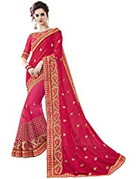 Pisara Women's Chiffon Saree For Party Wear,Red & Pink