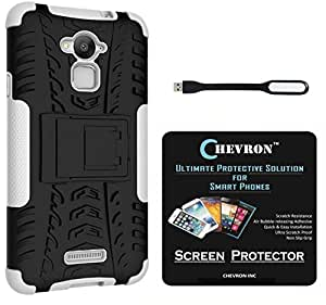 Chevron Tough Hybrid Armor Back Cover Case with Kickstand for Coolpad Note 3 with HD Screen Guard & Mini USB LED Light Lamp (White)