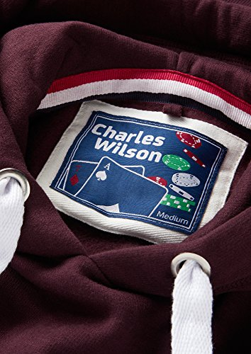 Charles Wilson Herren Kapuzenpullover aus mittelschwerer Baumwollmischung Dunkles Weinrot
