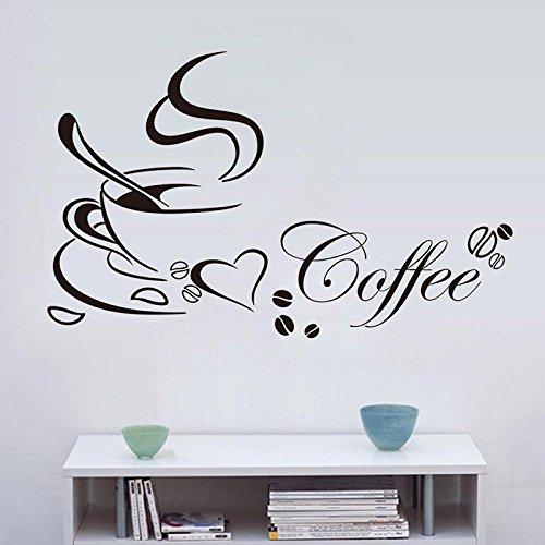 CALISTOUK Wandaufkleber kaffee Wandsticker Schlafzimmer Modern Küche Kaffee Wandtattoos
