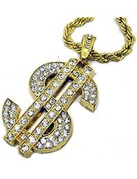 Iced 24K chapado en oro $ Dólar Sign cadena colgante de HIPHOP Bling