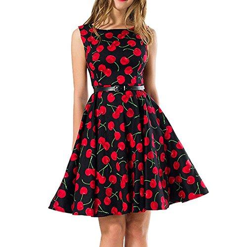 Dame Kleid Rock Rundhals äRmelloses Drucken Retro Big Swing Puff Rock Kurzer Rock Baumwolle, Cherry Blossoms, m Ming Blossom