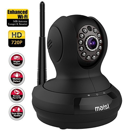 MAISI [UPGRADED] MAISI ProHD 1MP Wireless Security IP Camera with 3dB ENHANCED WiFi, Baby Pet Monitor - Smart Setup In Minutes, Motion Detection Recording, Mobile Push Alerts, And MORE