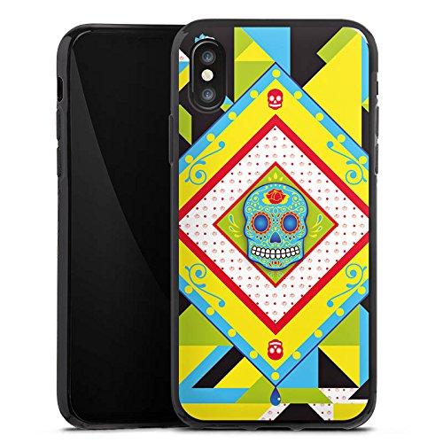 Apple iPhone X Silikon Hülle Case Schutzhülle Totenkopf Buntes Maya Muster Silikon Case schwarz