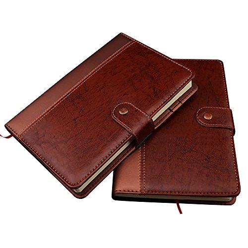 Zhi Jin A5/A6Dick Vintage Leder Notizbuch Tagebuch Hardcover, liniert, Notizblock Tagebuch mit Stud Knopfverschluss A5 farblos (Portfolio Seite Klare)