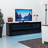 Costway 120/157/200CM TV Unit Cabinet W/Drawer & LED Lighting Modern Television Stand Furniture For Bedroom Living Room Home (157CM Length, Black)