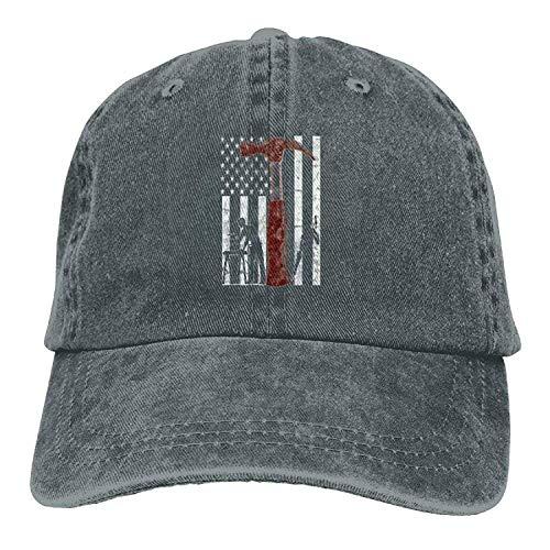 uykjuykj Baseball Caps Hats Funny Bag Wood American Carpenter Flag Denim Hat Unisex Curved Baseball Hat Adjustable Unique Personality Cap Baseballmütze