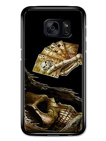 New Goth Scary Dark Punk Rock Style Tattoo Artwork Skull Death Cards coque pour Samsung Galaxy S7