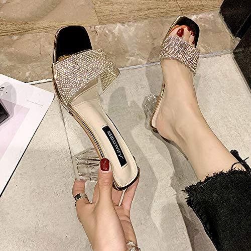 YOPAIYA Sandalen Damen,Frauen Slipper Schwarz Klar PVC-Hausschuhe Frauen Open Toe Crystal Folien Transparent Heel Sandalen Sommer Schuhe Frau High Heels Mules, 37