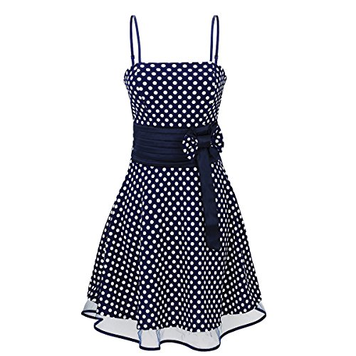 Laeticia Dreams Damen Kleid Petticoat Rockabilly S M L XL, Farbe:Blau/Weiß Punkte Klein;Größe:38