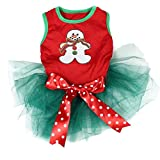 Pet Supply Christmas Ginger Snowman Red Teal Green Dog Dress Polka Dots Bow (L)