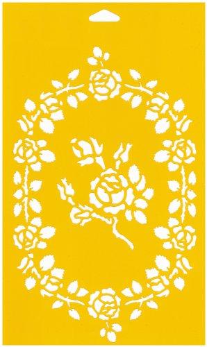 30cm x 17.5cm Stencil Plantilla Plástico Reutilizable para Decoración Pasteles Paredes Tela Muebles Manualidades Arte Artesanía Diseno Gráfico Dibujo Técnico - Rosas Flor Hojas
