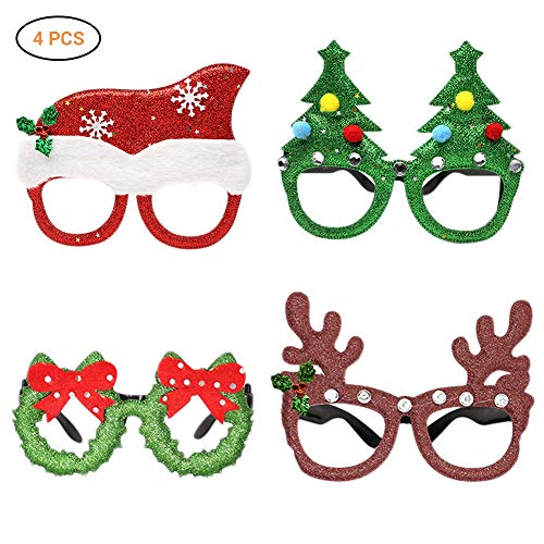 Weesey 4 Pcs Xmas Glasses Frame Decoration for Adult Children Glasses Frame Christmas Party Prop