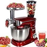 Syntrox Germany KM-6.5L De Luxe Red Küchenmaschine Knetmaschine Mixer Edelstahl Rot 1300 Watt mit tollem Zubehör