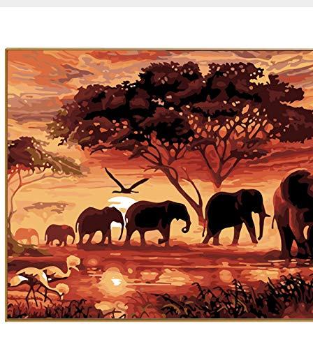 MSCLY Pintura Digital Paisaje Elefantes En La Puesta De Sol Imagen De...