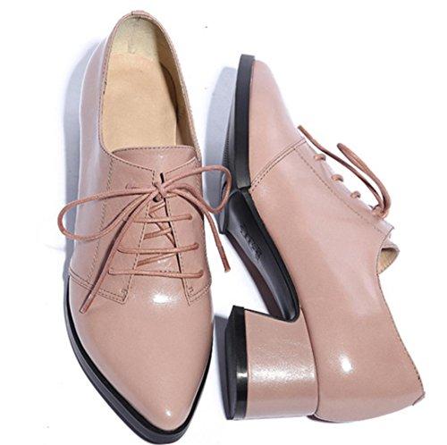 YCMDM Femmes Chaussures en cuir véritable Chaussures confortables Mode Loisirs Printemps Automne Hiver Lumière Rose Violet Rouge Noir 34 35 36 37 38 39 Light Pink