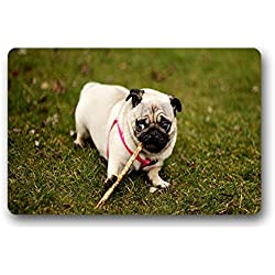 costumbre Pug Dog Perro Carlino – Resistente al calor no tejida plástico Felpudo Doormat 46 zentimeters X 76 zentimeters, tela, c, 18x30(inches)