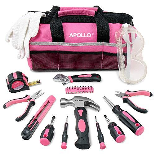 Apollo 23 pièces Outil Rose pour Ménager, Kit Outils Rose Bricolage, Cadeaux Outil pour Femme Madame, Lunettes de Sécurité Gants dans Sac Rose