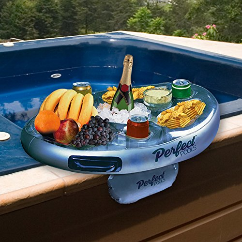 We recommend the Spar Bar Inflatable side tray. With 8 cavities spread across its 28-inch diameter, it offers plenty of space for bottles, cans, and foodstuff. This makes it perfect for hot tub parties and gatherings.erfect Pools' Spa Bar Inflatable Hot Tub Side Tray for Drinks and Snacks - Perfect for Pool Parties!