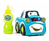Kinder-Seifenblasen-Auto mit Seifenblasenflüssigkeit, EIN-Aus-Schalter, Sound, Licht, Griff-Schalter, Batteriebetrieb, lieferbar in den Farben Rot oder Blau (Blau)