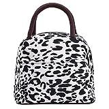 Zxke Leopard Print Style Women Handbags Lunch Bag Tote (White/Black)