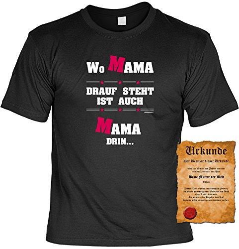 Muttertagsgeschenk für Mama Wo Mama drauf steht ist auch Mama drin Tshirt mit Urkunde Muttertag Geschenk zum Muttertag Farbe: schwarz Schwarz