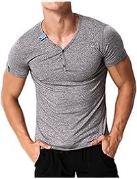 MODCHOK Hombre Camiseta Manga Corta Shirt Botones Cuello de Pico Casual Slim Fit