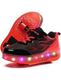 Unisex Skateboard Schuhe Rollschuh Schuhe Einzelrad Rollenschuhe LED-Skateboard Lichter blinken Schuhe Räder Schuhe Turnschuhe mit 2 Rollen